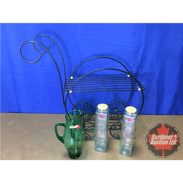Plant Stand & Green Pitcher & Décor Pasta Vase Canisters