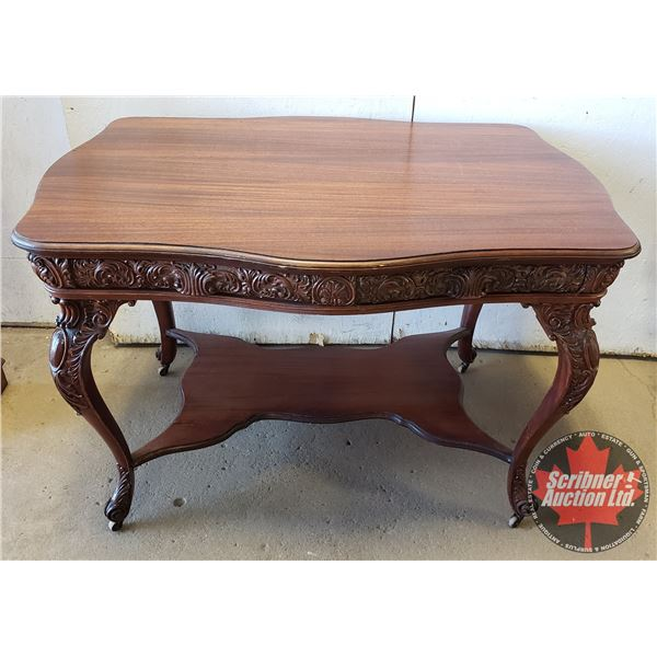 """Intricately Carved Parlor Table / Writing Desk (2 Drawer) (on Castors) (30""""H x 45""""W x 32-1/2""""D)"""