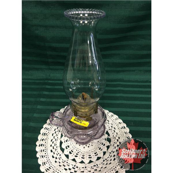 "Bullseye Finger Lamp (11-1/2""H with Chimney) Amethyst ""Queen Anne"""