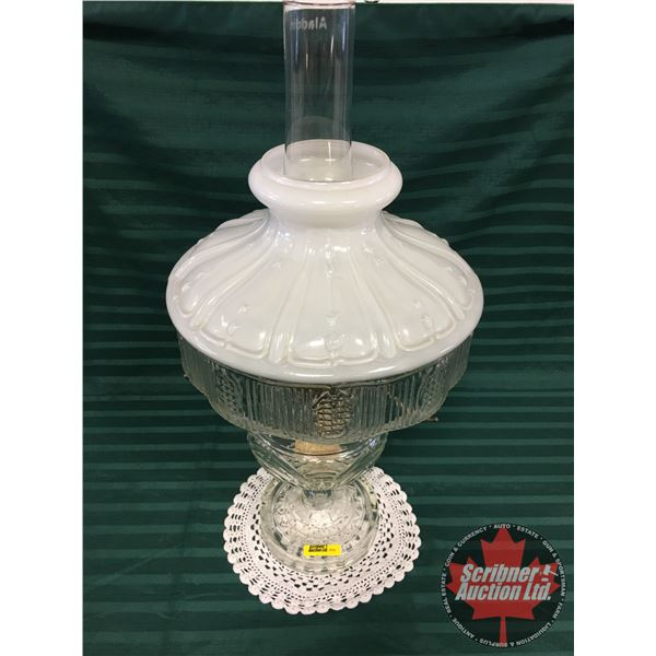 "Washington Drape Aladdin Lamp (23""H w/Chimney) with White / Clear Glass Shade ""Model B"" Burner"