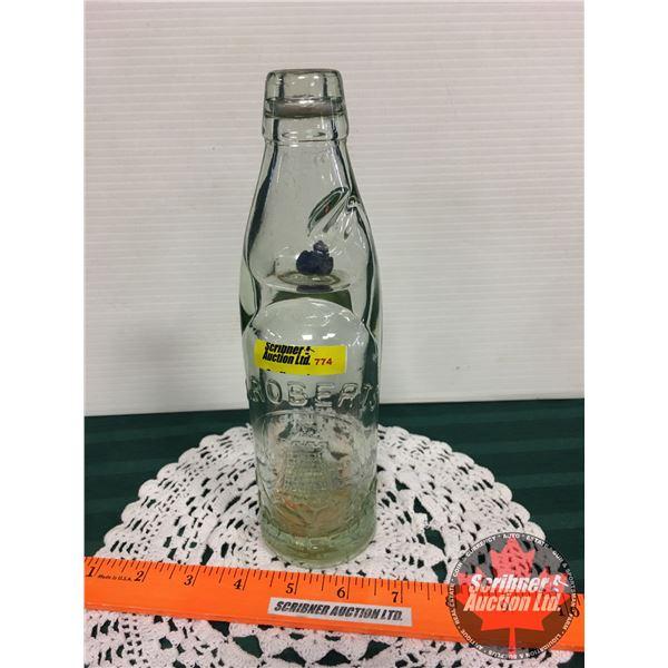 """Codd Neck Marble Bottle """"J. Roberts Castleford"""" (9-1/2""""H)"""