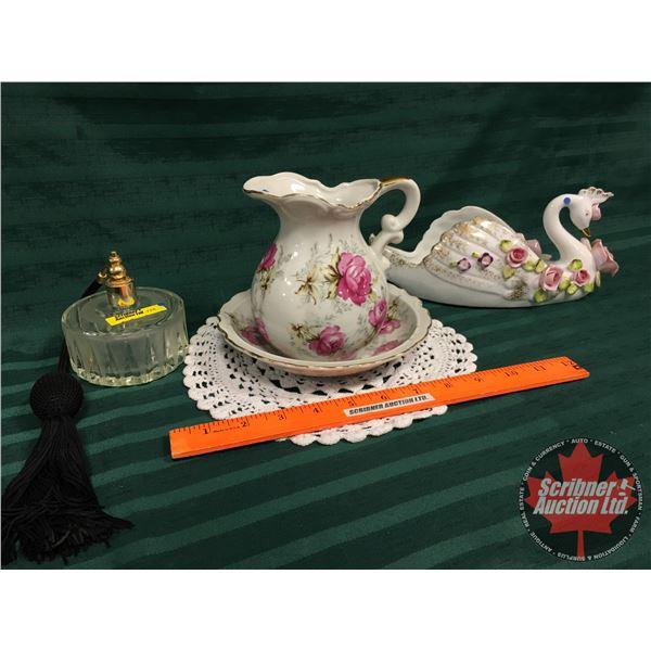 Ladies Trio: Perfume Atomizer, Small Pitcher & Basin & Swan Ornament