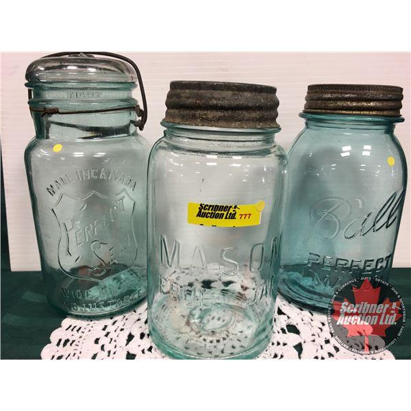 Mason Jars (3) Blue