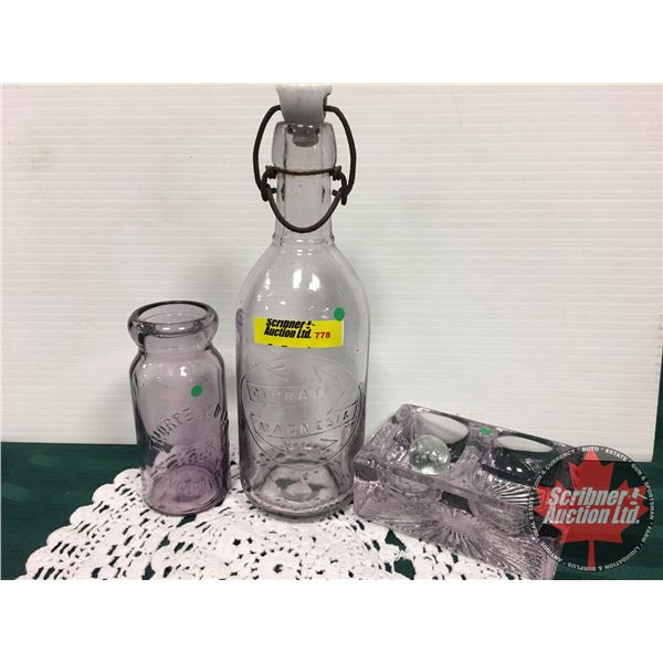 Amethyst Glass (3): Thorpe Co. Ltd. Bottle, Citrate Magnesia Cap Bottle & Dish