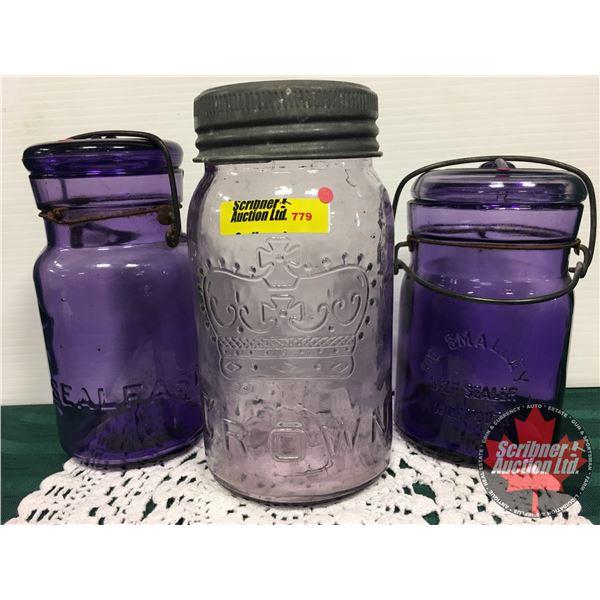 Amethyst Crown Mason Jar & Smalley Self Sealing Deep Purple Jars (2)