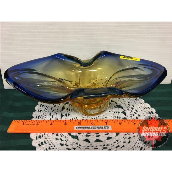"""Murano Blue & Amber Glass Dish (3-3/4""""H)"""