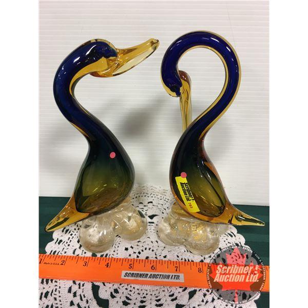 """Pair of Murano Blue & Amber Birds (9-1/2""""H)"""