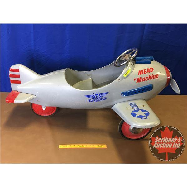 "Pedal Airplane ""Mead Machine"" : Airflow Orange Calif. Collectibles (24""H x 45""L x 36""W)"
