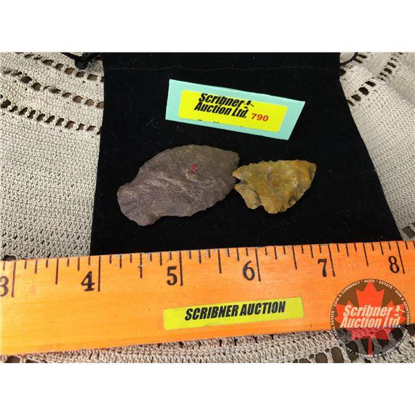 Arrowheads (2) w/Velvet Bag