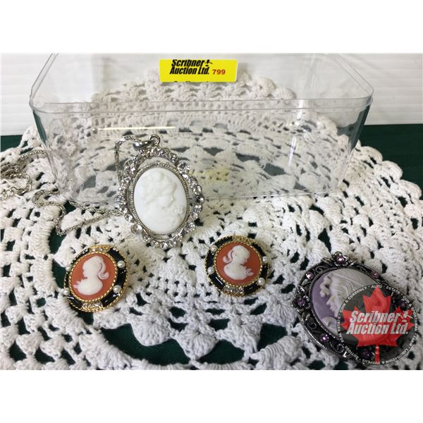 Cameo Jewellery : Necklace, Brooch, Earrings