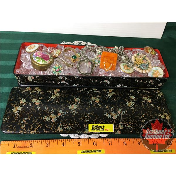 Assorted Vintage Jewellery in Trinket Box w/Faux Crystals