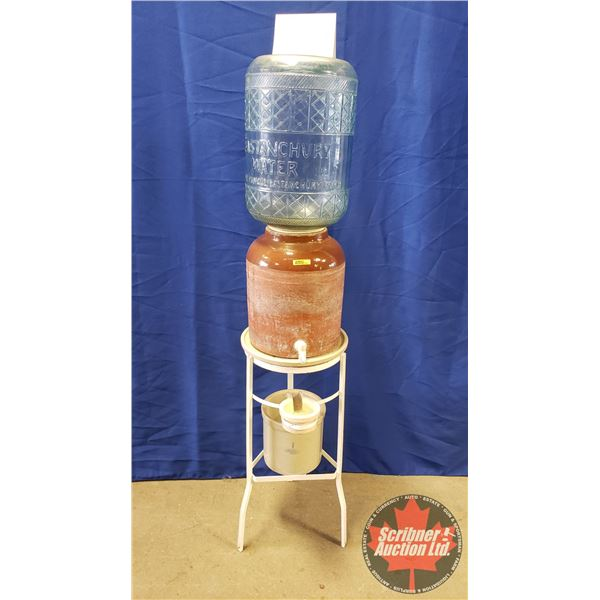 """Vintage Glass Water Crock on Stand with 1 Gal """"Pacific"""" Crock drip Catcher """"Bastanchury Water Cooler"""
