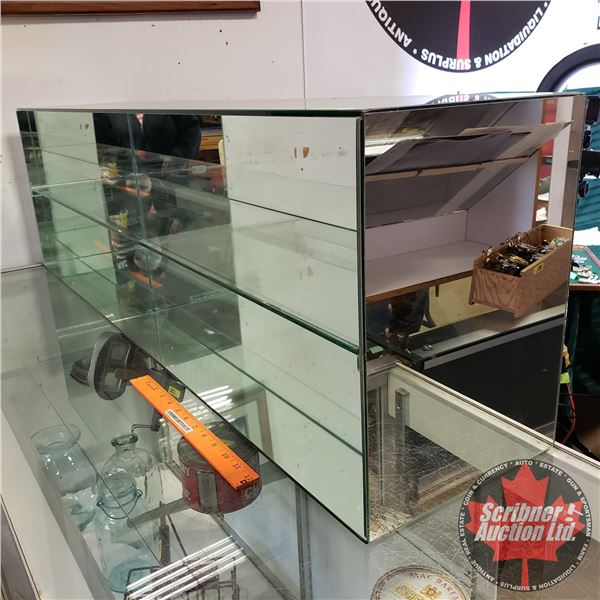 "Counter Top Mirror & Glass Display Shelving (14-1/2""H x 48-1/4""W x 10-1/4""D)"