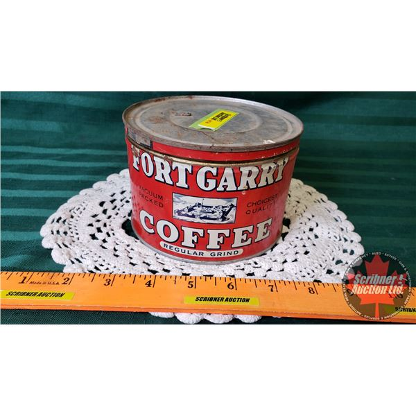 """Fort Gary Coffee Tin - Hudson's Bay Company with Variety of Tea Brand Packaging (3-1/2""""H x 5"""" Dia)"""