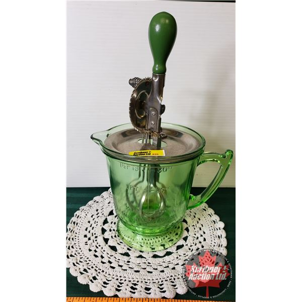 "Vaseline Glass Measuring Cup (1-1/2 Pints) & Mixer (12""H)"