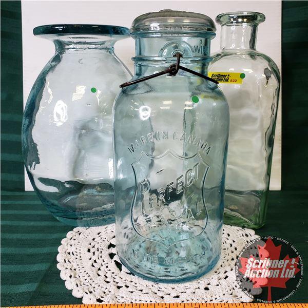 """Large Glass Bottles & Sealer Jar (11""""H)"""