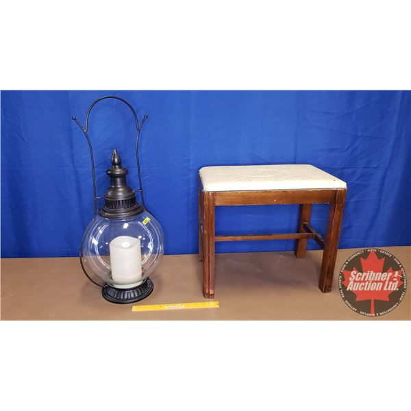 "Hanging Globe Light - Outdoor - Battery Operated (Modern) & Stool (29""H Light) (18""H Stool)"