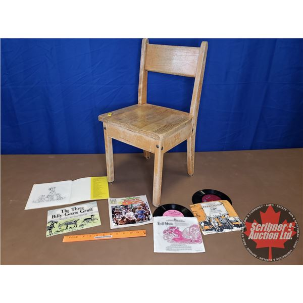 """Children's Wooden Chair with Story Books & Records (Chair 26""""H)"""