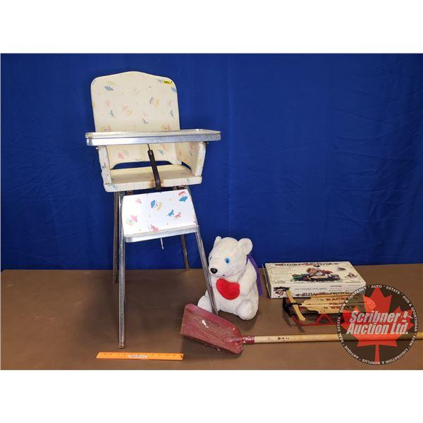 Kids Grouping: High Chair (Carousel Horse Pattern) & Flexible Flyer Miniature Sled & Plush Polar Bea