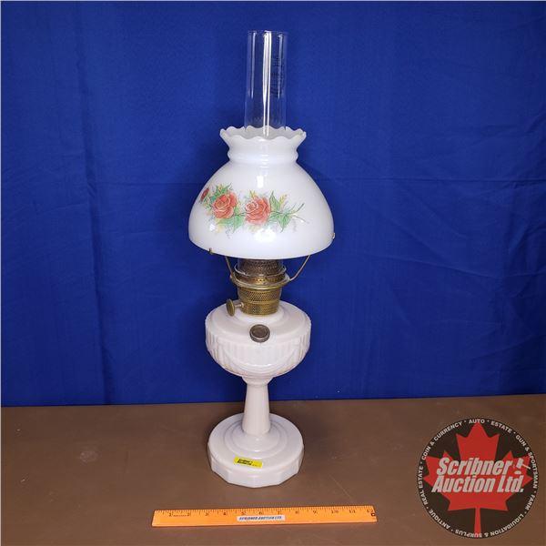 "Lincoln Drape Milk Glass Aladdin Lamp (Model B Burner) w/Shade (25""H)"