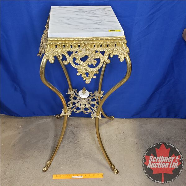 """Marble Top Cast & Brass Ornate Display Table (35-1/2""""H x 14-1/2""""W x 14-1/2""""D)"""