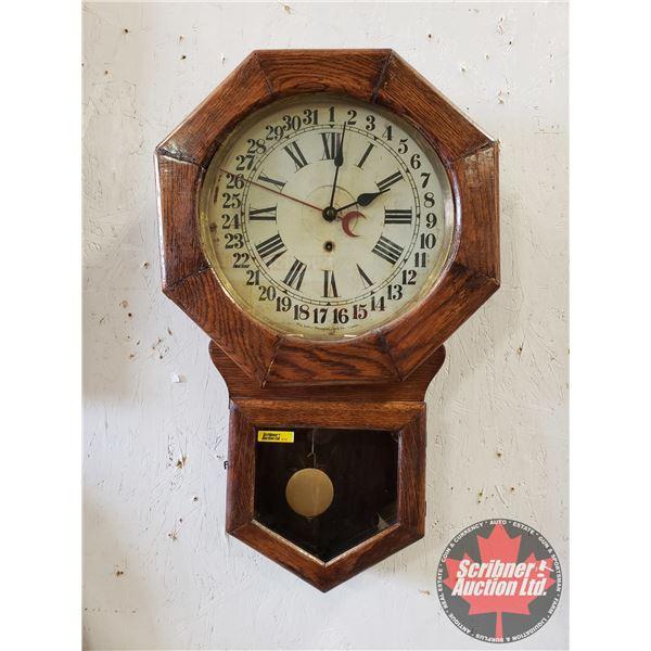 """Arthur Peguegnat Hanging Calendar Wall Clock (Working) (26'H x 16-1/2""""W x 5""""D)"""