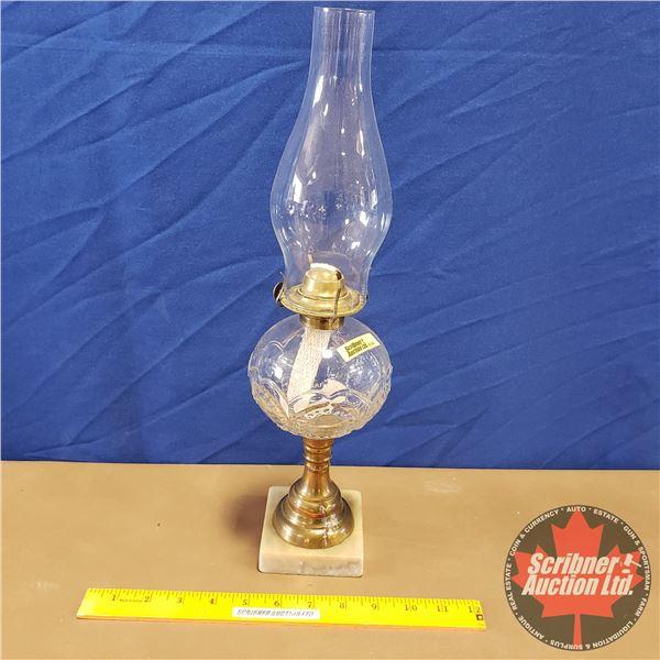 """Marble Base Pedestal Coal Oil Lamp (Eagle Burner) (17""""H)"""