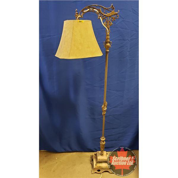 "Marble & Cast Base Floor Lamp (62""H)"