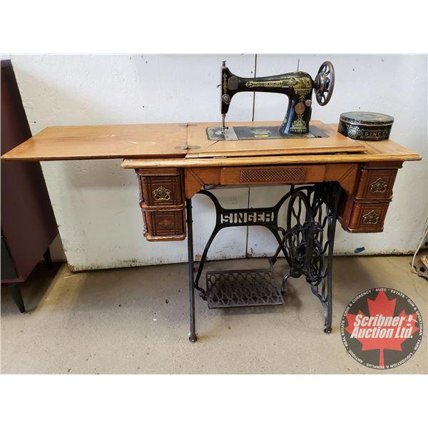 "Singer Treadle Sewing Machine S/N#G6661768 (One Handle Missing - Needs Minor repairs) (39""H) (c/w Ti"