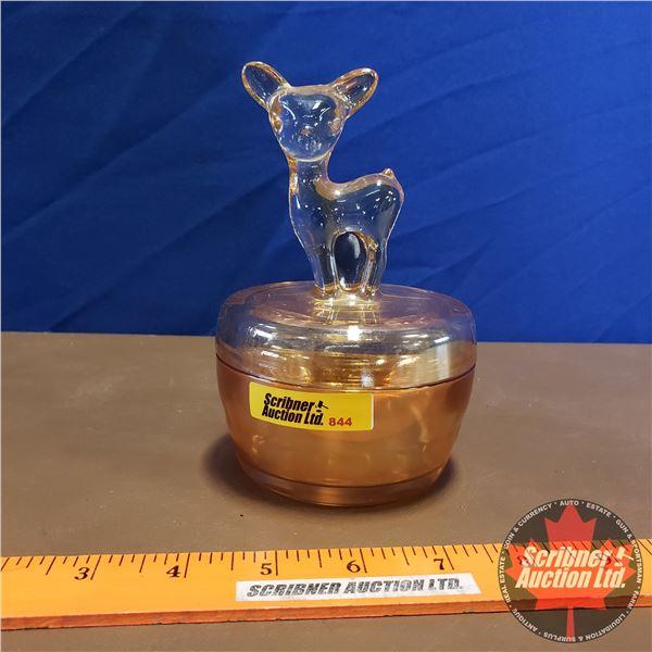 """Peach Lustre Deer Trinket Box (6""""H)"""