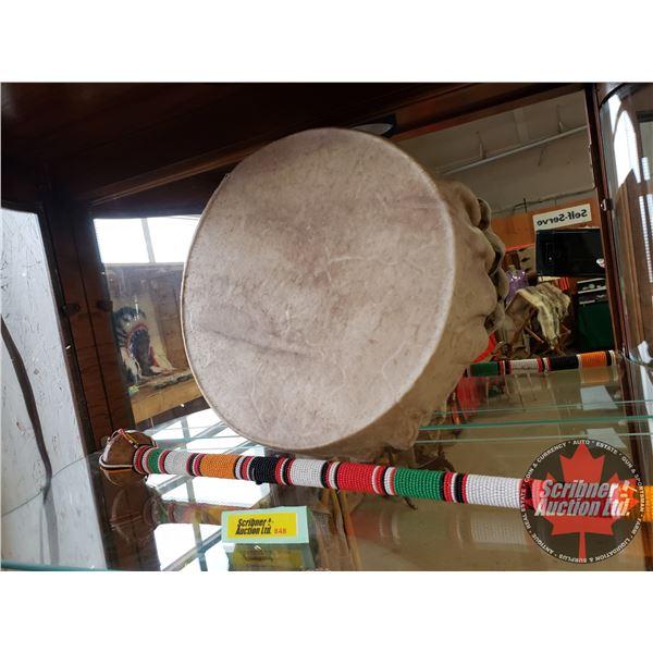 Native Frame Drum w/Beaded Drum Stick