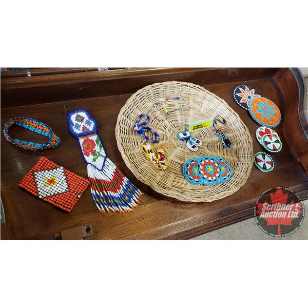 Native Assorted Beaded Jewellery (14) Variety & Basket