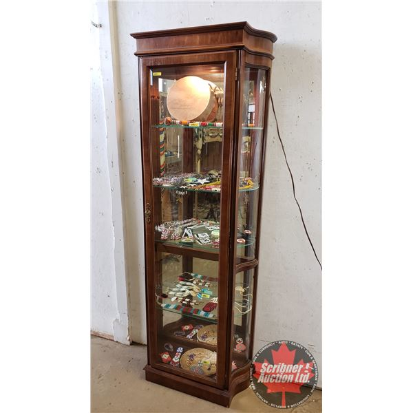 """Curio Cabinet - Lighted - Bevelled - Curved Glass (79""""H x 29""""W x 12""""D)"""