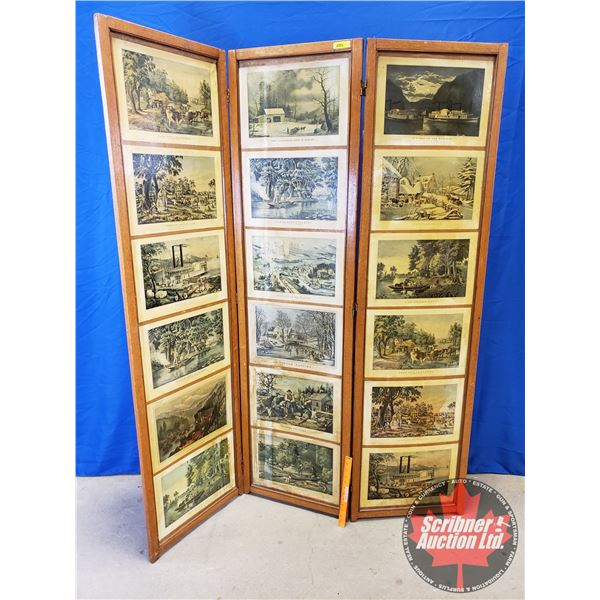 """Screen Divider (3 Panel) w/Currier & Ives Prints (72""""H x 19""""W Panels)"""