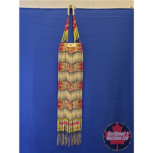 """Native Warrior Chest Plate (Red, Pink, Yellow & White Beads) Plains Style (53""""L)"""