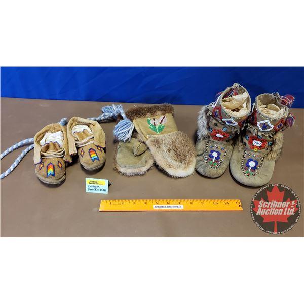 Native Children's Pair of Mukluks, Moccasins & Mittens