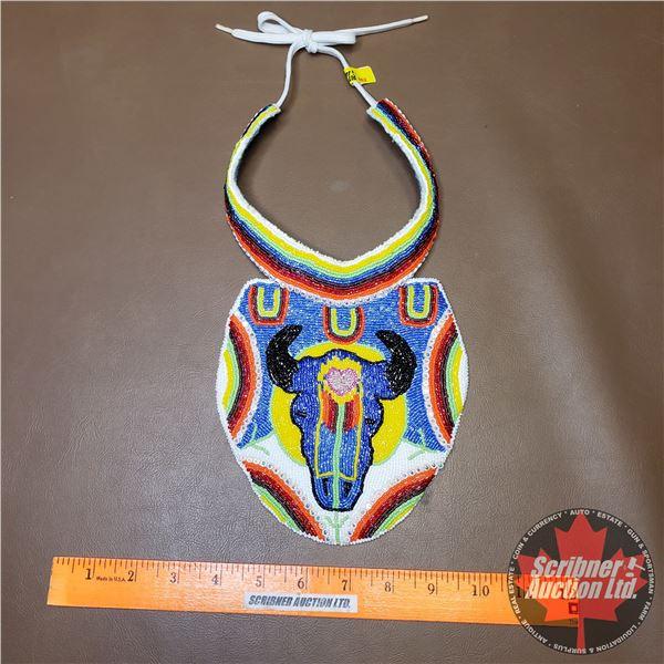 Native Children's Beaded Chest Plate (Long Horn Skull Design)