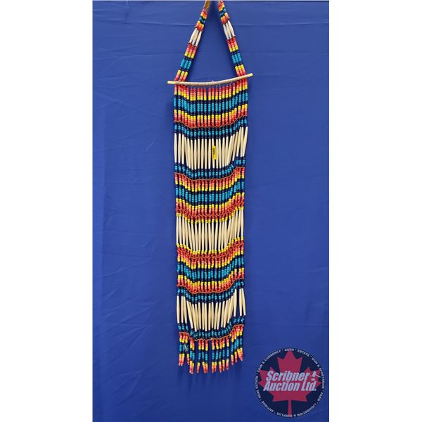 """Native Warrior Chest Plate (Blue, Red, Yellow Beads) Plains Style (52""""L)"""
