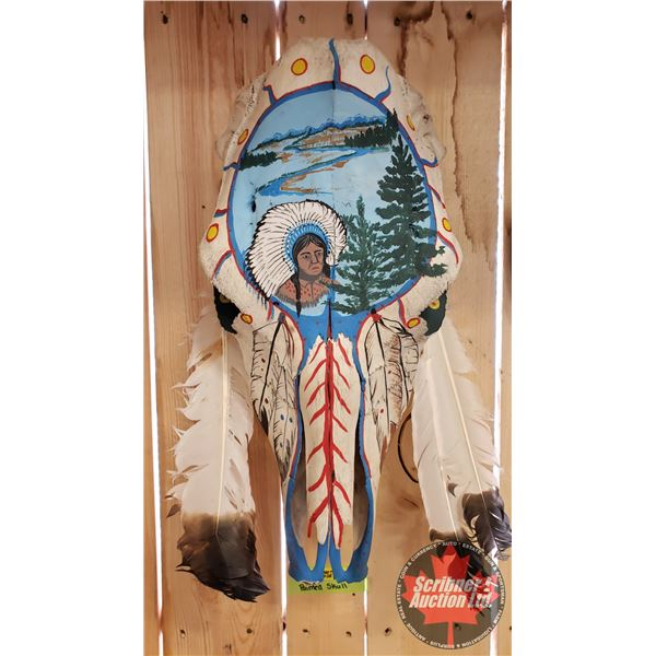 """Painted Skull w/Feather Art Work (Native Chief with Scenery Motif) (17""""H)"""