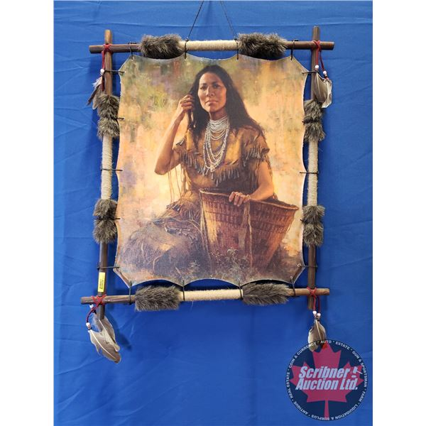 """Native Woman w/Basket depicted on Canvas Wall Hanging w/Wooden Frame & Feathers (28""""H x 24""""W)"""