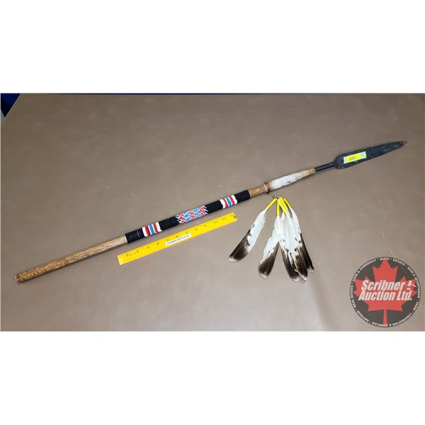 """Spear - Bead Handle w/Feathers (43-1/2""""L)"""