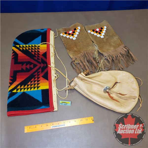 Leather Pouch Bag, Leather Cuffs & Navajo Leather Bound Hood
