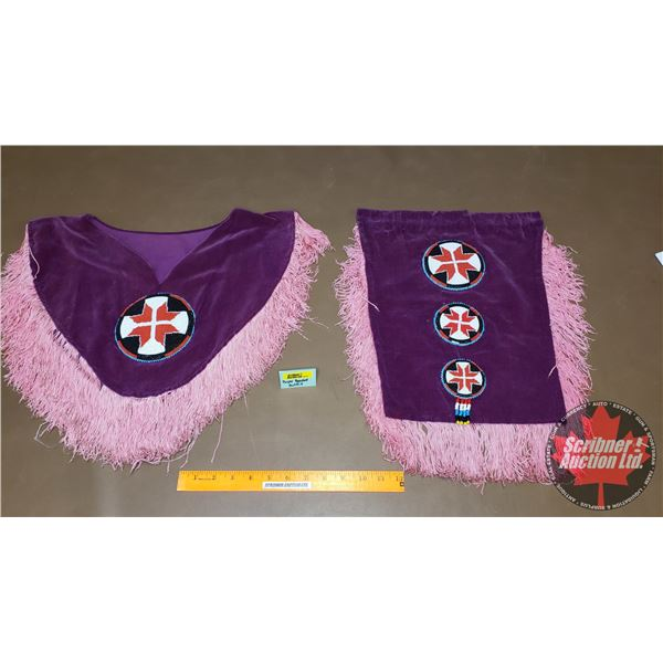 Native Velvet Purple Outfit (Poncho Style Chest Piece & Loin Cloth) (Both Beaded with Fringe)