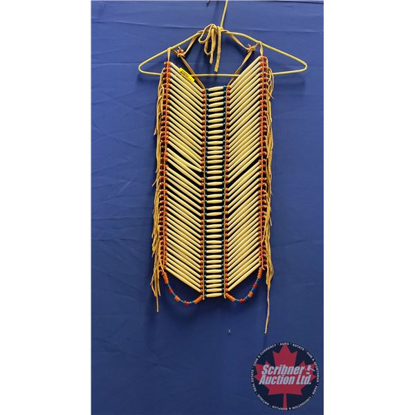 """Native Warrior Chest Plate (Red, Blue, Orange Beads) Plains Style (25""""H)"""