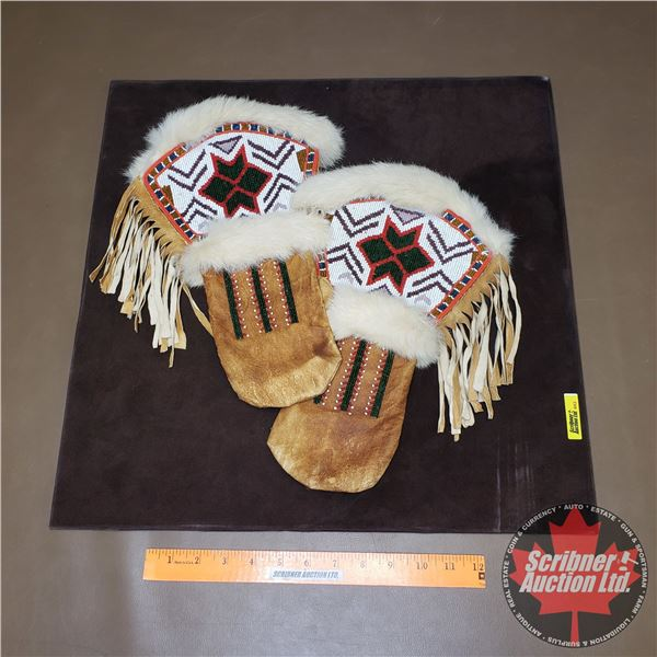 """Beaded Leather Mittens - Fur Clad w/Fringe (Mounted on Board) (20""""H x 20""""W)"""