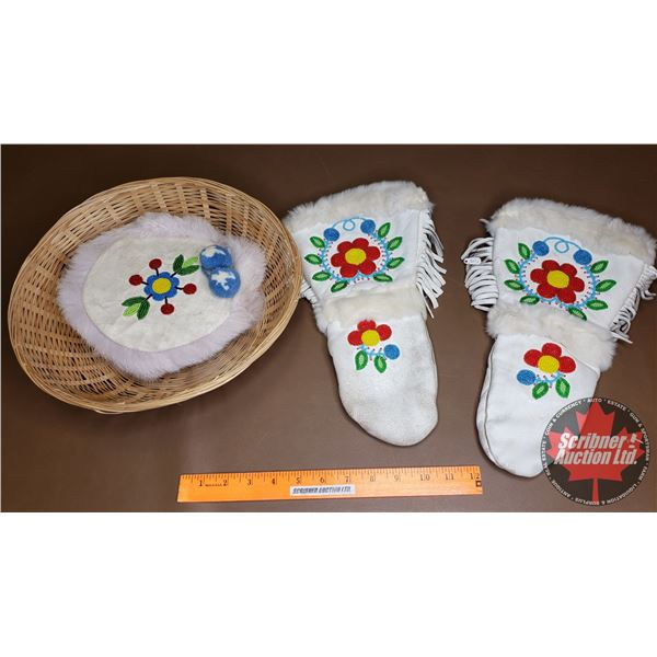 White Leather Beaded Mittens w/White Beaded Fur Clad Hat & Basket
