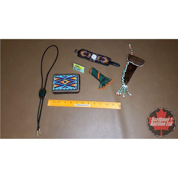 Native Beaded Watch, Wallet, Lighter Holder, Knife Sheath & Arrowhead Bolo Tie