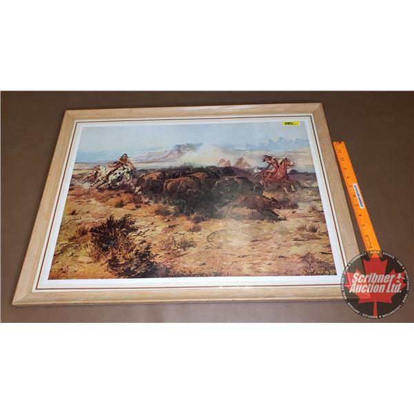 "Framed Print ""The Buffalo Hunt"" (20""H x 26-3/4""W)"