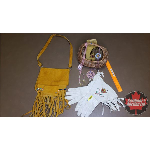 Native Basket Lot: White Leather Gloves, Leather Pouches (2), Leather Satchel & Beaded Necklaces (2)