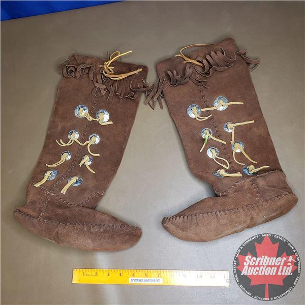 "Brown Leather Mukluks (9""H)"